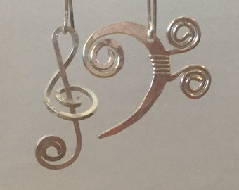 Earrings, treble clef, bass clef, silver, copper