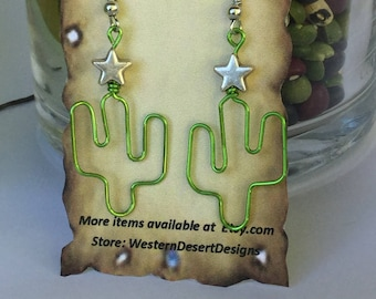 Christmas Cactus Earrings, copper, silver plated star