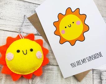 You Are My Sunshine Felt Cute Plushie Birthday Card Valentines Gift Best Friends Decoration