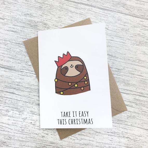 Cute Christmas Puns.Cute Christmas Card Funny Pun Card Sloth Card Funny Christmas Card Christmas Sloth Quirky Christmas