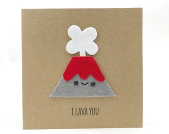 I Lava You, cute birthday card, cute mothers day card, funny pun card, funny anniversary card, husband and wife card