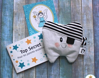 Magic Sleeve of the Tooth Fairy for a Pirate Child - Spark Teeth Fairy Pouch and I handmade in Quebec with love
