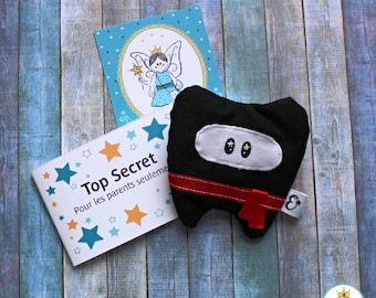 Magic Sleeve of the Tooth Fairy for a Ninja Child - Spark Teeth Fairy Pouch and I handmade in Quebec with love