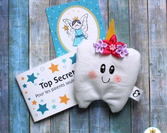 Magic Sleeve of the Tooth Fairy for a Child Unicorn- Spark Teeth Fairy Pouch and I handmade in Quebec with love