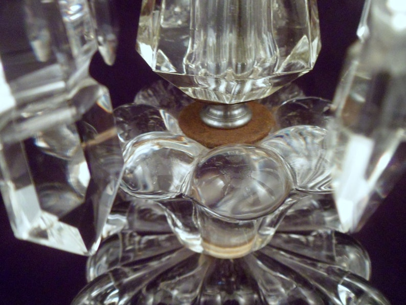 Hurricane Shades Pair Antique Crystal Boudoir Lamps Working 10 Crystal Lustres Each