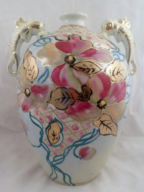 Imperial Nippon Porcelain Vase Floral Gold Beading Seahorse Etsy