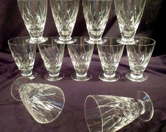 Set 11 Marked Stuart Crystal Juice Glasses, Lyric Pattern, England, 1955-1975