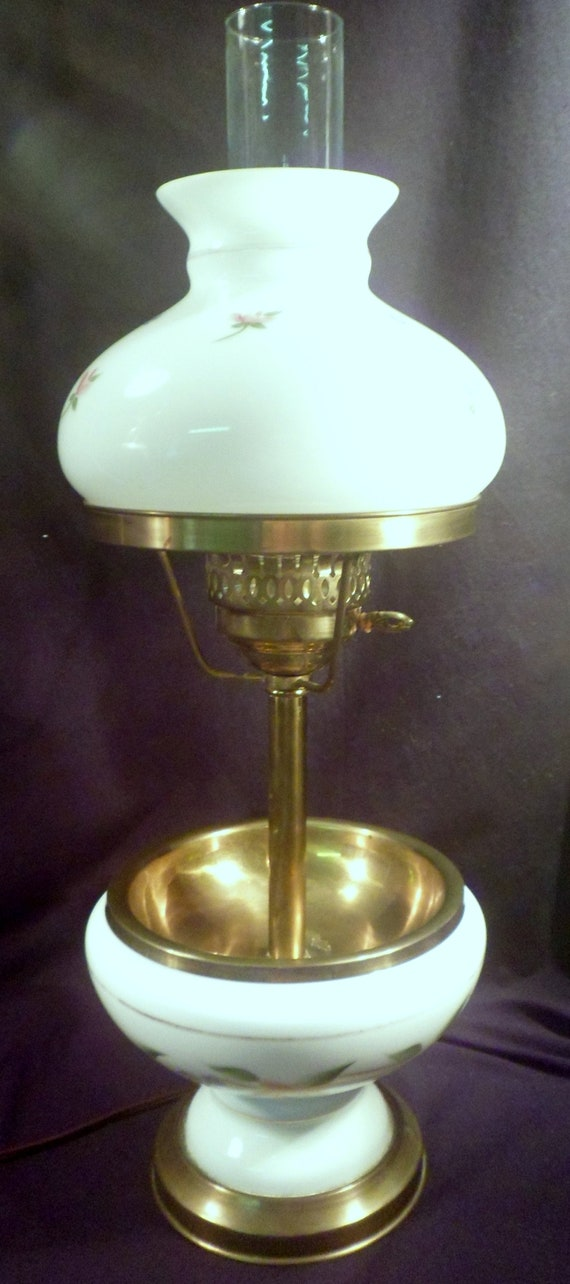 Rare Table Lamp With White Glass Shade And Bottom Glass Bowl Etsy