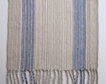 Handwoven Rustic Table Runner with Blue Stripes
