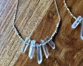 Boho Crystal Point Fan Necklace