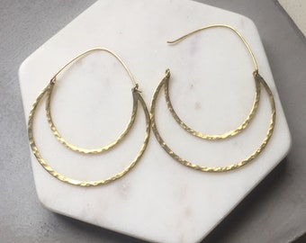 Large Crescent Hoop Earrings, Hammered Brass