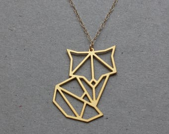 Gold Fox Geometric Necklace