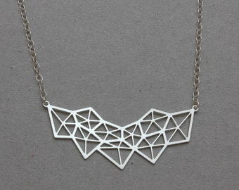 Silver Geometric Diamond Necklace