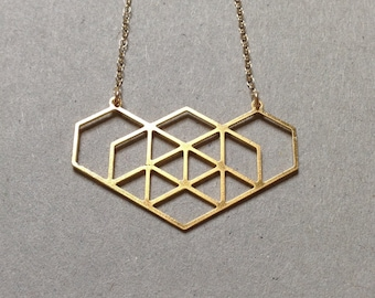 Gold Geometric Hexagon Necklace