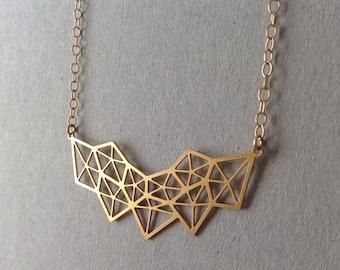 Gold Geometric Diamond Necklace