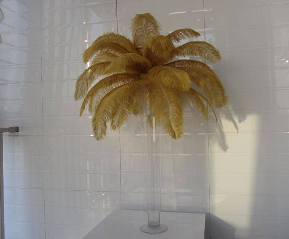 Pcs inch gold ostrich feathers wedding table etsy