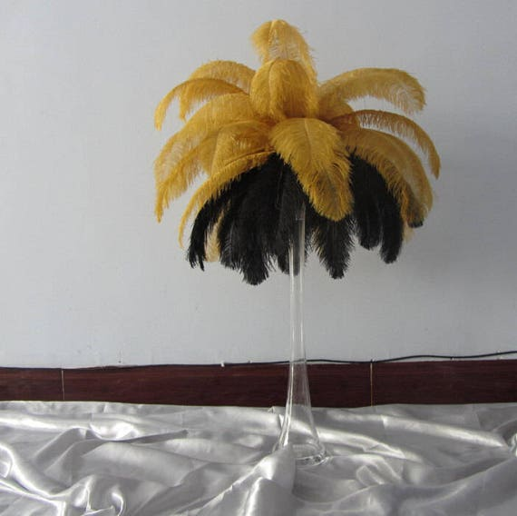 Inch ostrich feather black gold