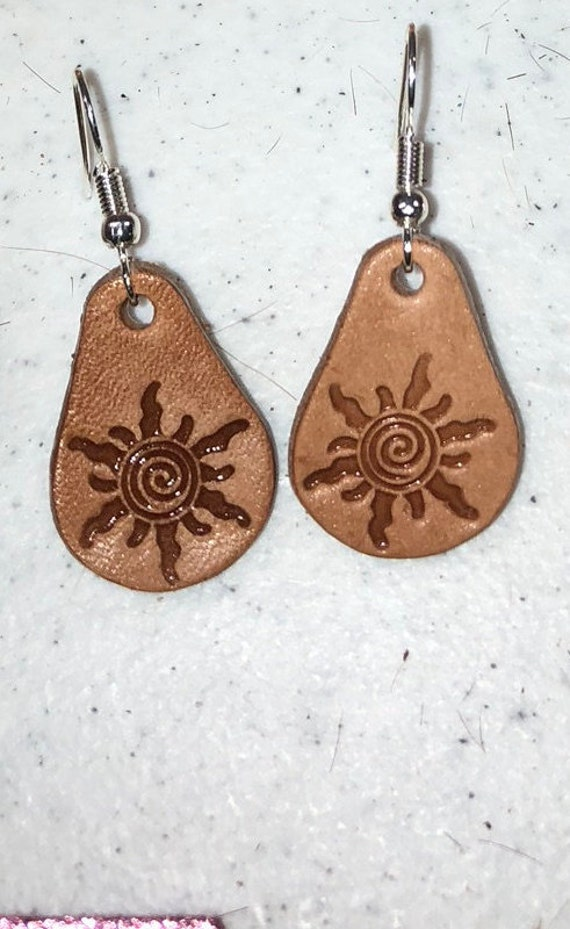 Handcrafted and Tooled Cross Top Grain Leather Teardrop Earrings