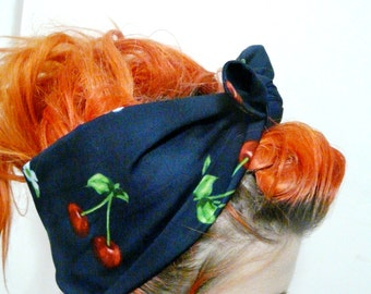 Cherry Headband / Rockabilly 50s Head Band / Pin Up Accessory / 1950s Look Rosie Wrap / Psychobilly Pinup Fashion / Cherries Hair Wrap Scarf