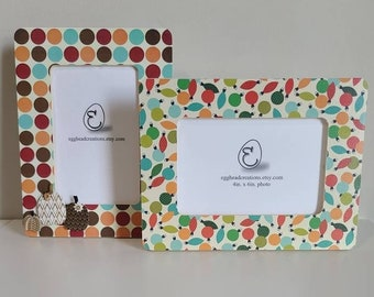 Set of 2 holiday decoupaged frames 4x6 photo size  with plexiglass / cover Thanksgiving and Christmas