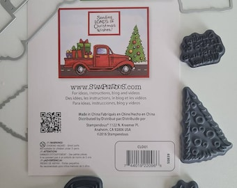 Used Stampendous Sending Loads of Christmas Wishes rubber stamps and dies with original packaging insert