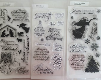 Gently used Recollections Michael's craft store clear stamp set - Christmas Jesus is the reason for the season Noel Holiday Wishes