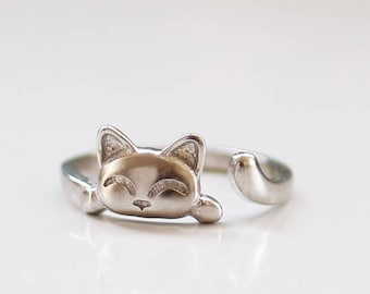 Cat ring, Adjustable ring, silver or gold cat ring, open ring, cat lover gift , cat jewelry, kitty jewelry, dainty ring,