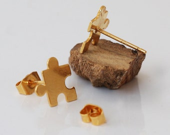 Gold plated Puzzle studs earrings , Gold plated , Sterling silver post , Nickel free jewellry