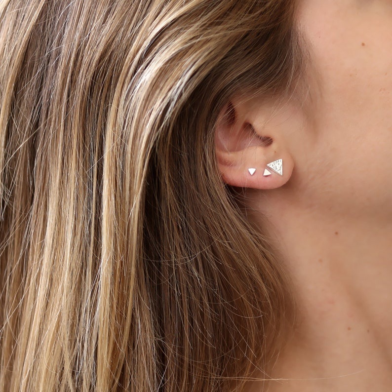 Tiny stud earrings Triangle Sterling Silver stud unisex earring Geometric Studs Minimal Earrings,