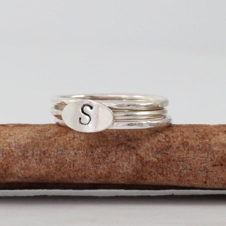 Personalized initial ring Initial jewelry 3 Silver Rings Sterling silver rings Custom Rings Ring set Hammered or plain Rings