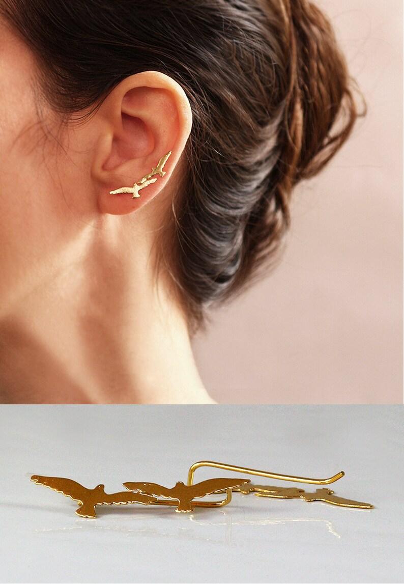 Gold or Silver Crawler Seagall jewelry Nickel Free Gold Ear Cuff Ear Climber Animal lover jewelry Seagall  Ear Cuff