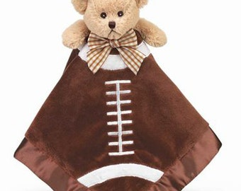 Personalized Baby Security Blanket Touchdown Football Bear Snuggler Lovie Baby Boy Gift Baby Plush Stuffed Animal with Blanket