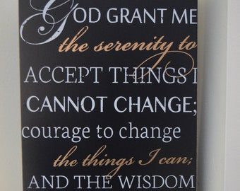God grant me Serenity Courage Wisdom Prayer 8x12x1.5 Wood Wall Hanging Shelf Sitter Blessing Inspirational Sign Black/White NEW!