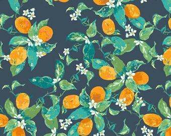Orange Blossom Fabric  |  Art Gallery  |   Dancing Fortunella  |   Oranges  |   Navy, Green  |  Cotton Woven Fabric   |  1/2 Yard