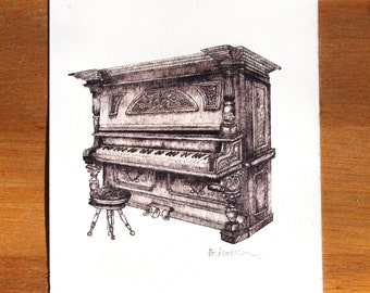 Vintage Piano A5 Illustration