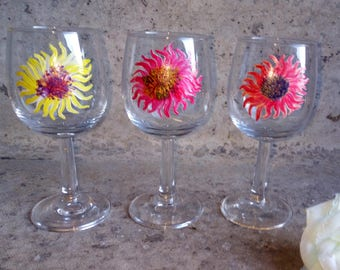 3 Hand Painted Glasses