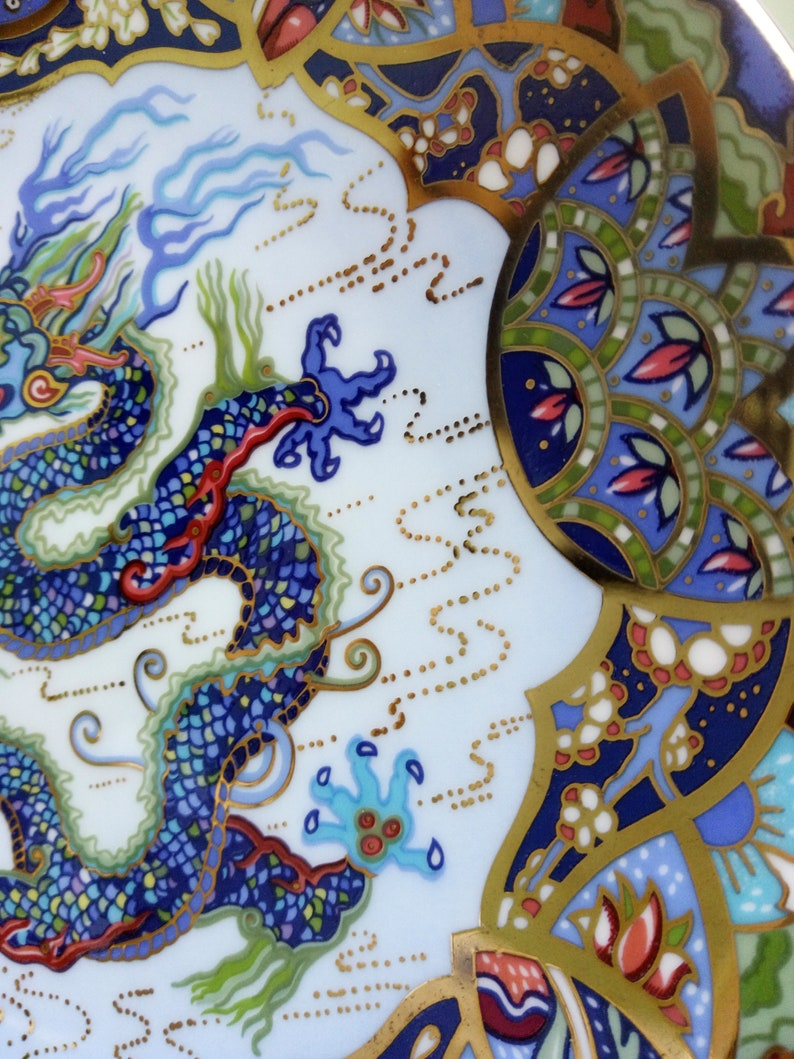 The Azure Dragon a Compton and Woodhouse Bone china plate by Royal Worcester