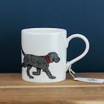 Black labradoodle mug, puppy mug, dog lover gift, new dog gift, labrador owner present, black labrador mug, millefiori print, bone china