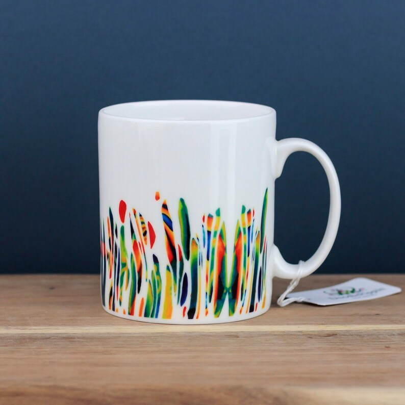 Bone china coffee cup, multicolour mug, pretty meadow cup, designer bone  china tea cup, Contemporary Kitchenware, gift for gardener
