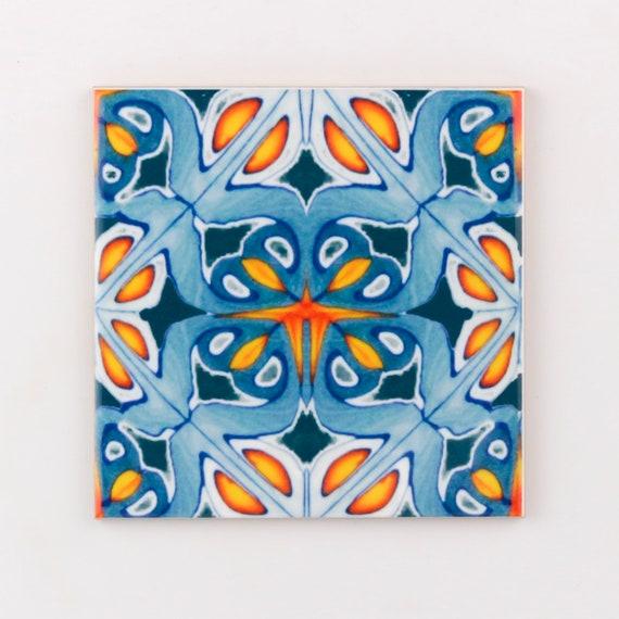 Orange And Blue Kitchen Tiles Ethnic Decor Moroccan Tiles Etsy