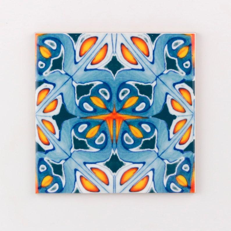 Orange and blue kitchen tiles ethnic decor Moroccan tiles image 0