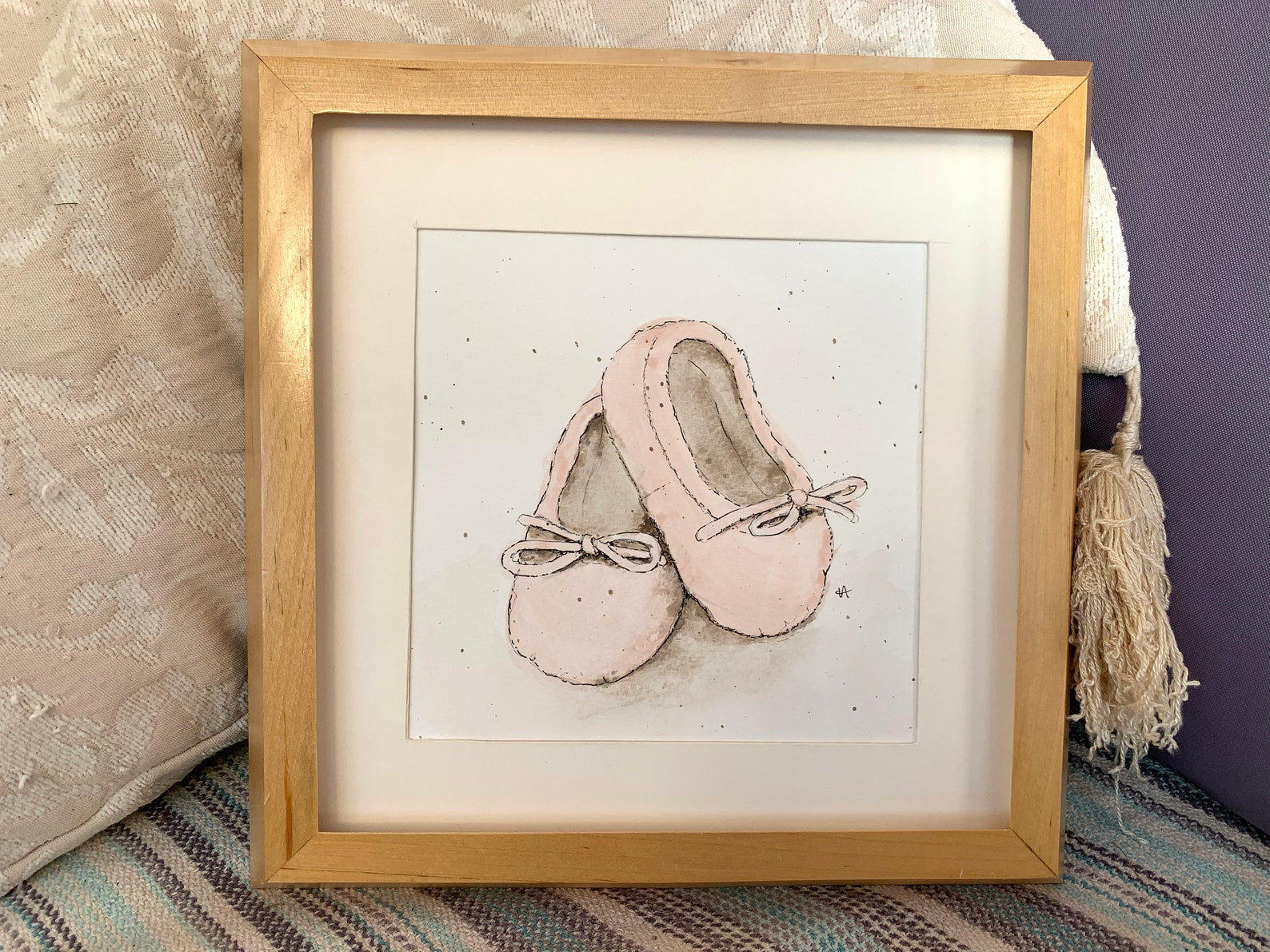 original watercolour painting of baby ballet pumps, framed in up cycled pine frame ready for display (26 x 26cm)
