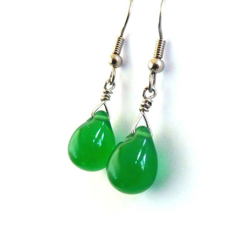 Green glass teardrop earrings bead drop earrings bright image 0