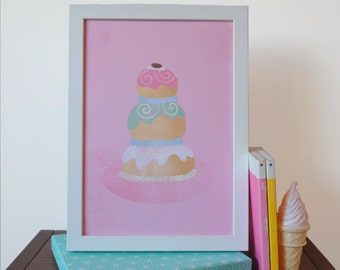 """The Grand Budapest Hotel Movie Mendl's Cake Illustrated Art Print - Sizes 5 x 7""""/A5/A4"""