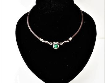 malachite leather choker, necklace malachite, wire wrap malachite, leather chocker, gemstone, wire wrap gemstone, choose your gemstone