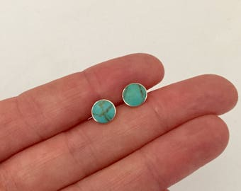 925 Sterling Silver Turquoise Stud Earrings, Round Silver Earrings, Boho Minimalist Beach Summer Studs, Green Blue Circle jewelry