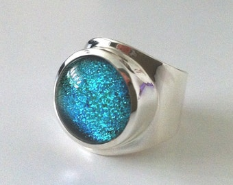 Sterling Silver Dichroic Glass Ring | Blue Glass | Fused Glass | Kiln | Ring | Sterling Silver | Adjustible |