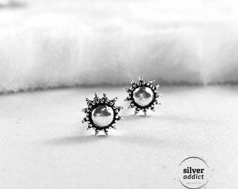 Sun Sterling Silver Earrings Small Silver Stud Earrings Sun Stud Sun Earrings Dainty Earrings Boho Earrings Minimalist Earrings Cartilage