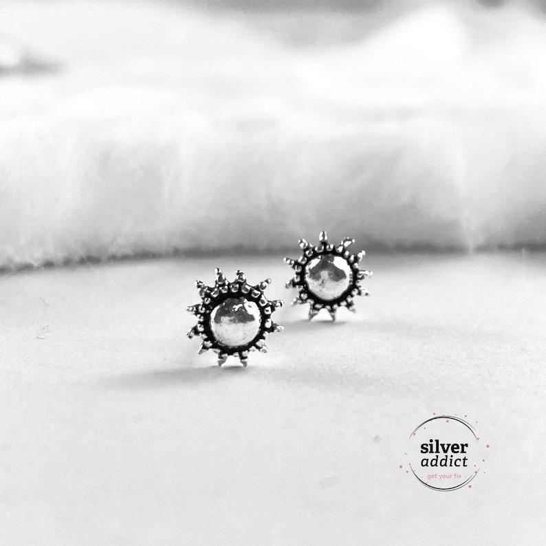 Sun Sterling Silver Earrings Small Silver Stud Earrings Sun image 1