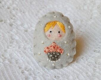 My gourmet cupcake felt Russian doll brooch